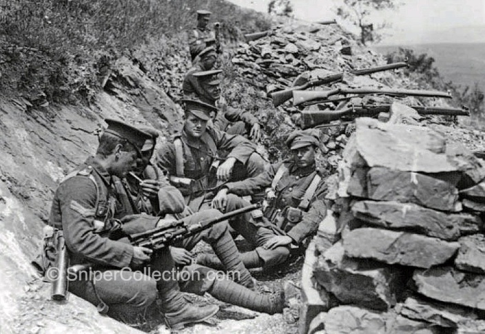 Snipers of the King_s Own Regiment on Salonika, possibly June 1916